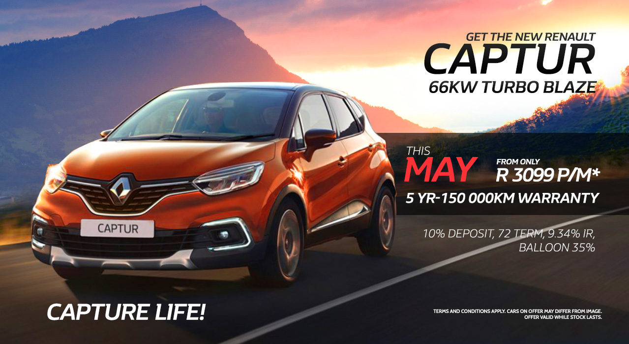 Get the Captur 66kw Turbo Blaze during the month of May from only R3,099 pm
