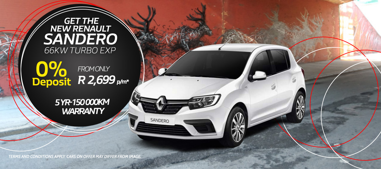 Get the New Sandero 66kw Turbo Exp this Month from only R2,699 pm