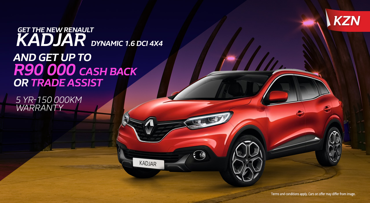 Get the New Kadjar Dynamic 1.6 DCI 4x4 & get up to R90 000 cash back or trade assist
