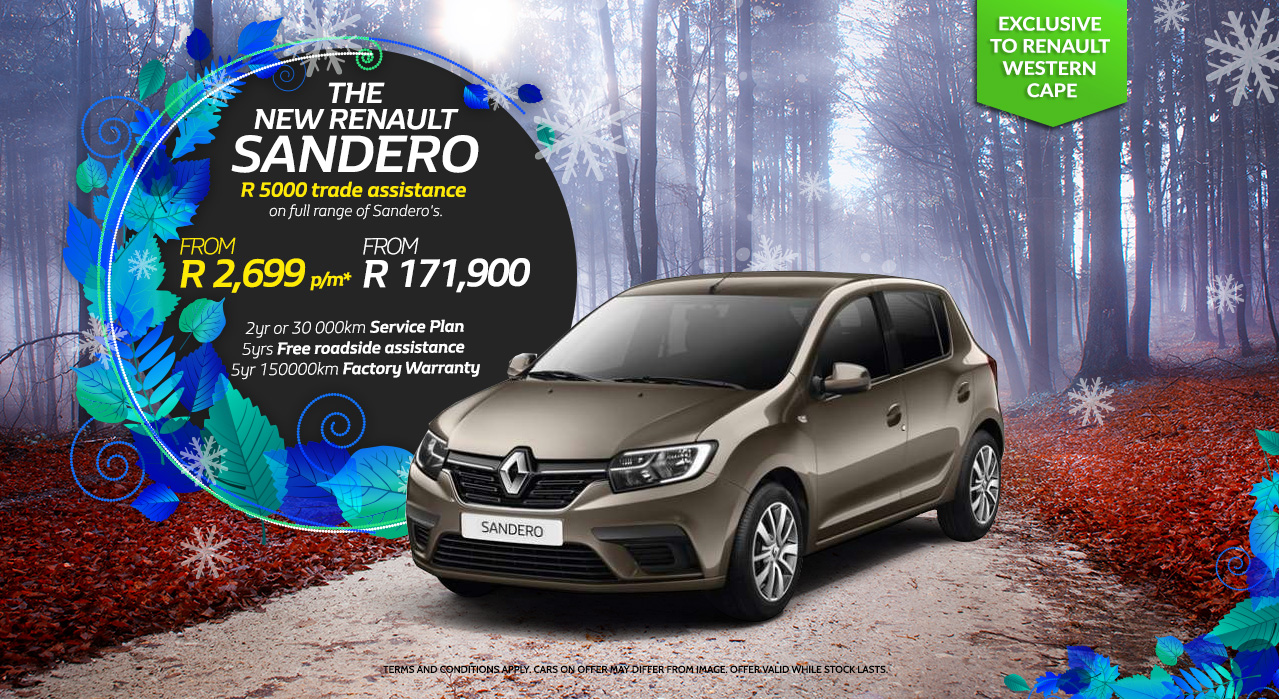 The New Renault Sandero From R2600 p/m exclusive to Renault Western Cape