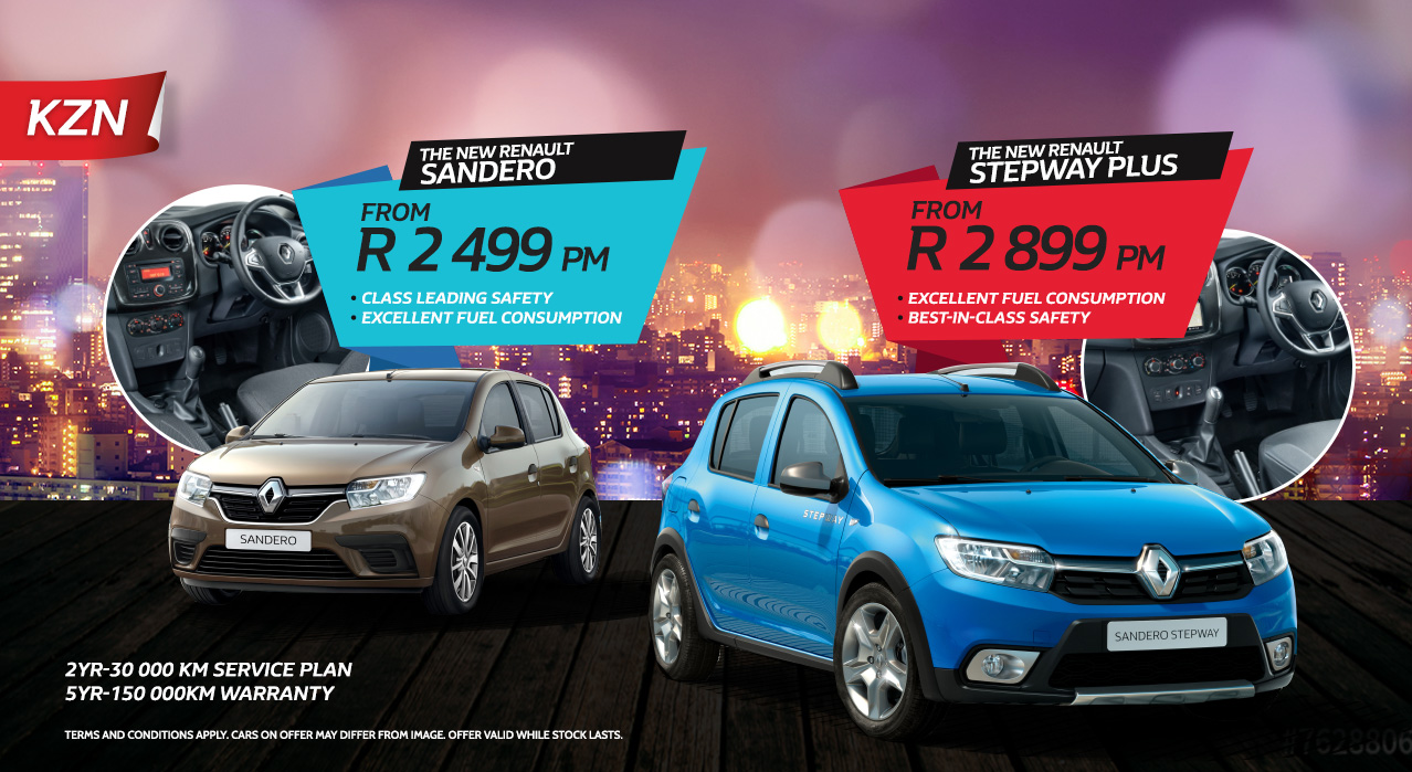 The New Renault Sandero from R2499 p/m and Stepway Plus from R2899 p/m