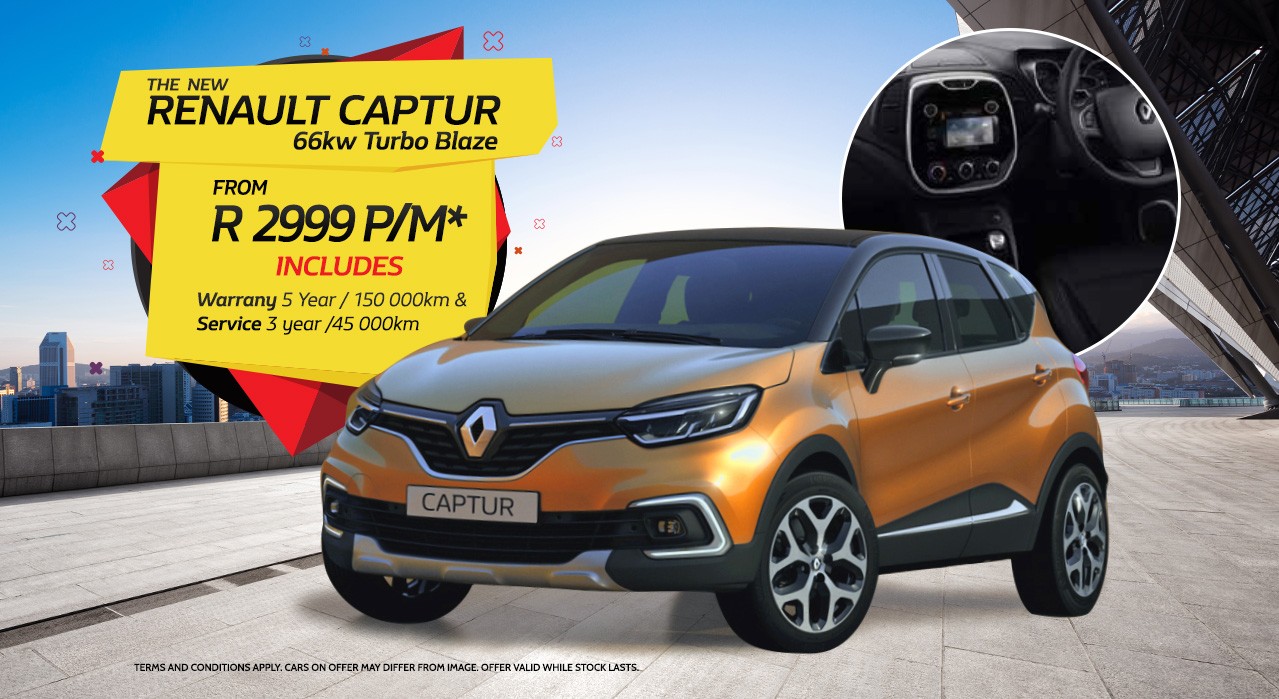 The New Renault Captur Turbo Blaze from R2,999 P/M