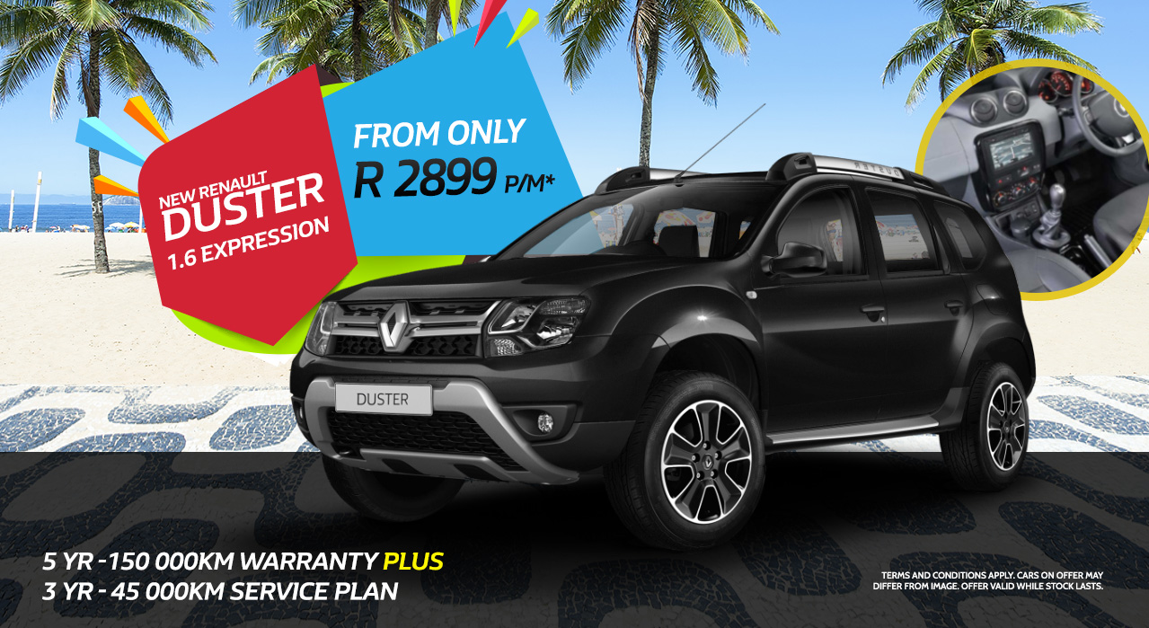 Renault Duster 1.6 Expression from only R2,899 P/M This July Only
