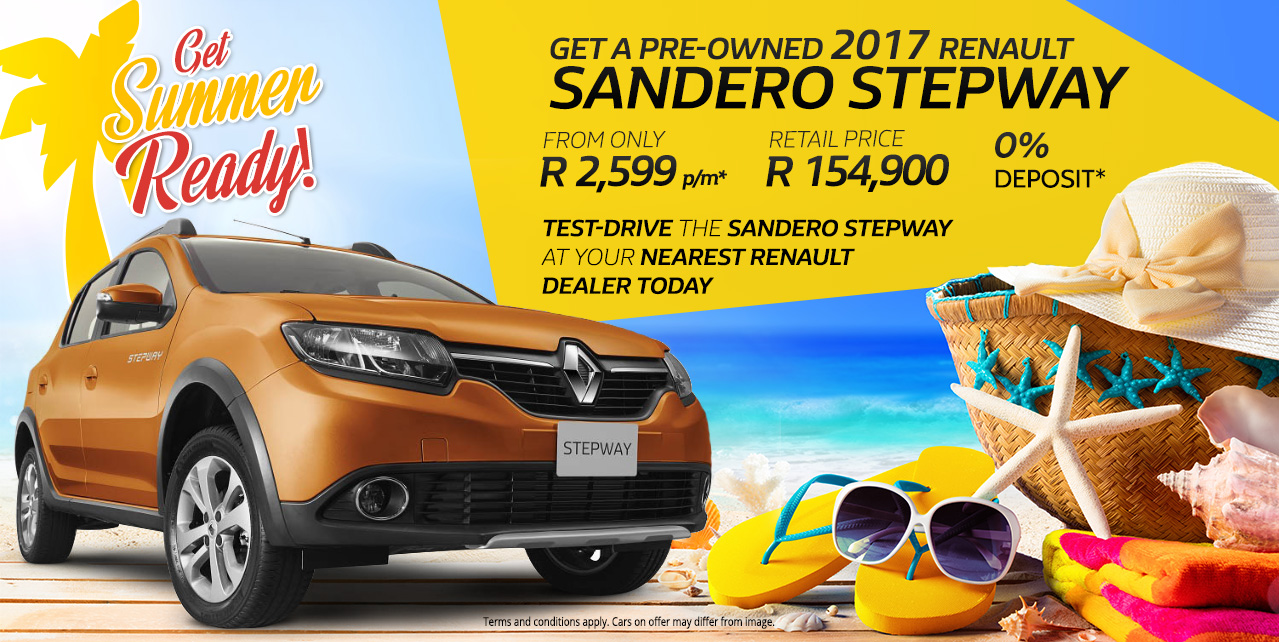 Get a pre-owned Renault Sandero Stepway from only R154,900 or R2,599pm