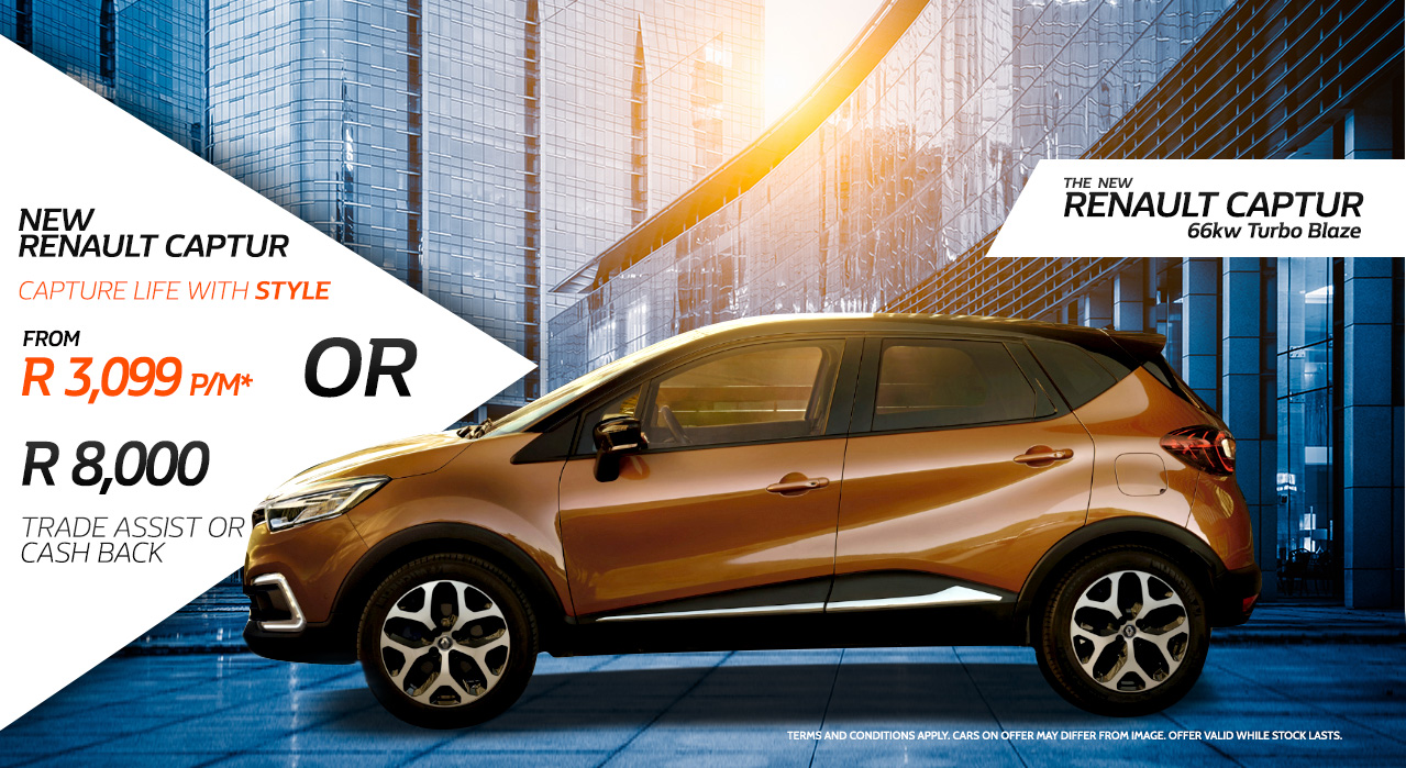 New Renault Captur Capture Life with Style From R3,099 p/m Or R8000 Trade Assist or Cash Back