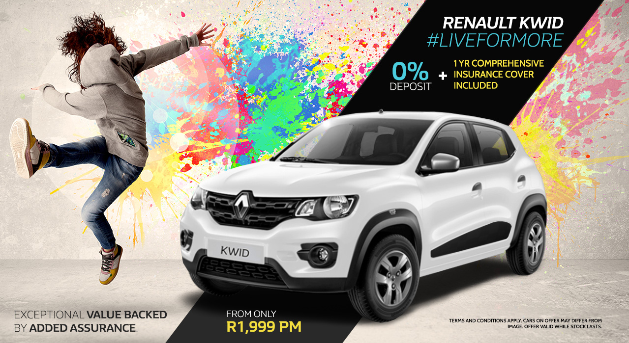 Renault Kwid #LiveforMore From R1,999 p/m | 0% Deposit Plus 1 yr Comprehensive insurance cover