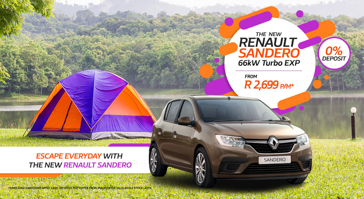Escape Everyday with the New Renault Sandero From R2,699 p/m 0% Deposit