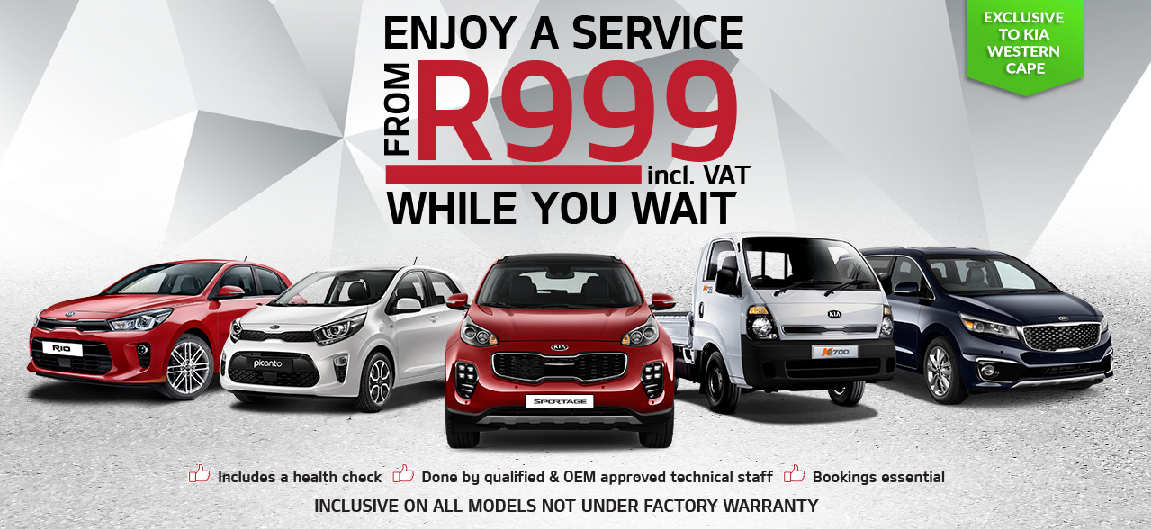 Enjoy a Service for R999 while you wait, exclusive to KIA Western Cape