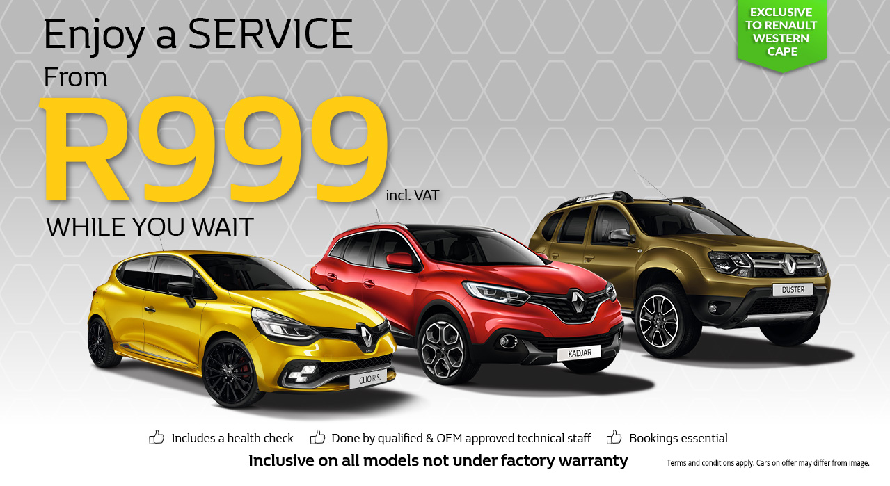Enjoy a Service for R999 while you wait, exclusive to Renault Western Cape