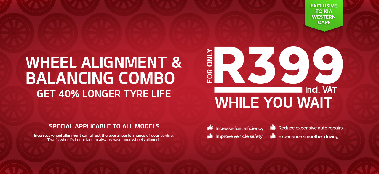 Wheel Balancing and Alignment Combo from only R399 exclusive from KIA Western Cape