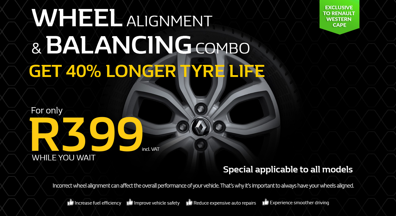 Wheel Balancing and Alignment Combo from only R399 exclusive from Renault Western Cape