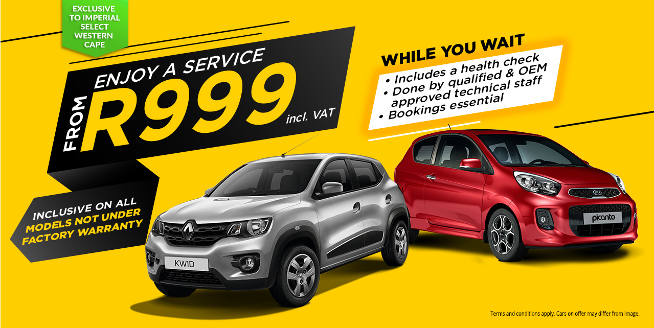 Enjoy a Service for R999 while you wait, exclusive to Imperial Select Western Cape