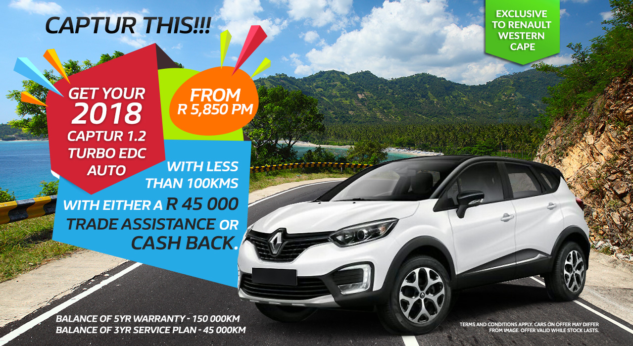CAPTUR THIS!!! Get your 2018 Captur 1.2 Turbo EDC AUTO From R5,850 p/m