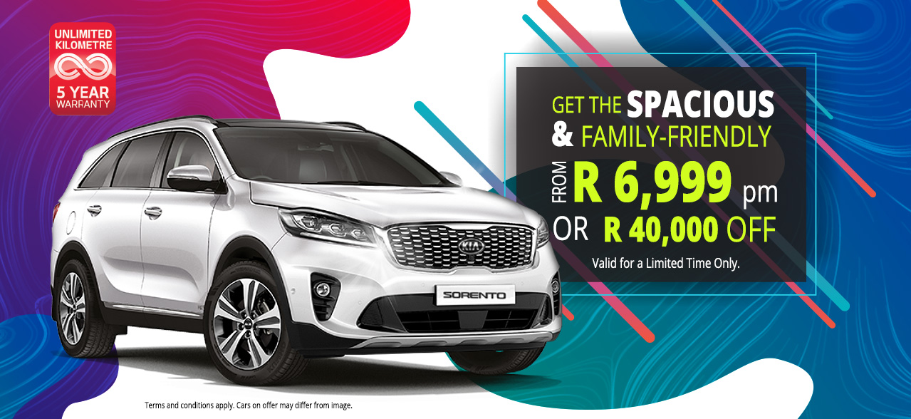 Get the spacious and family-friendly SORENTO LS from R6,999 p/m Or R40,000 OFF