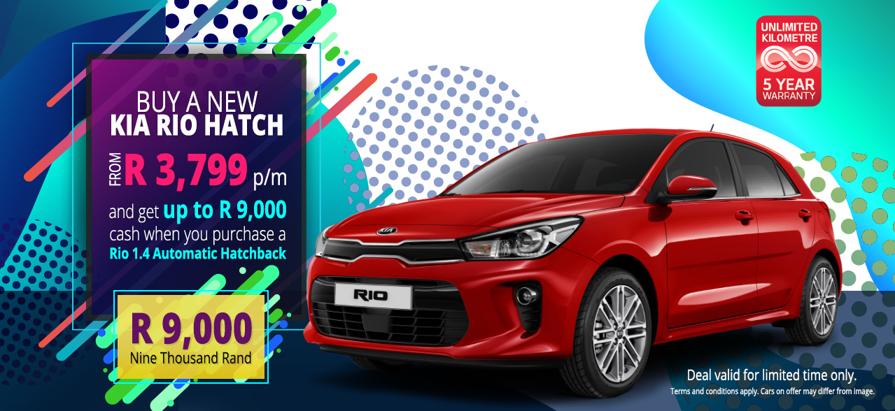 Buy a New Kia Rio Hatch from R3,799 p/m and get up to R9,000 cash