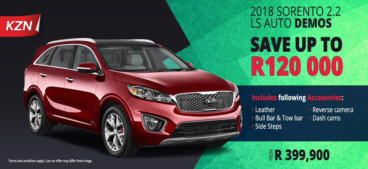 Save upto R120 000 on the 2018 Sorento 2.2 LS AT Demos