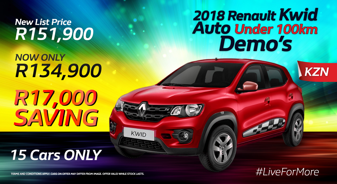 2018 Renault Kwid Auto under 100k Demo's now Only R134,900