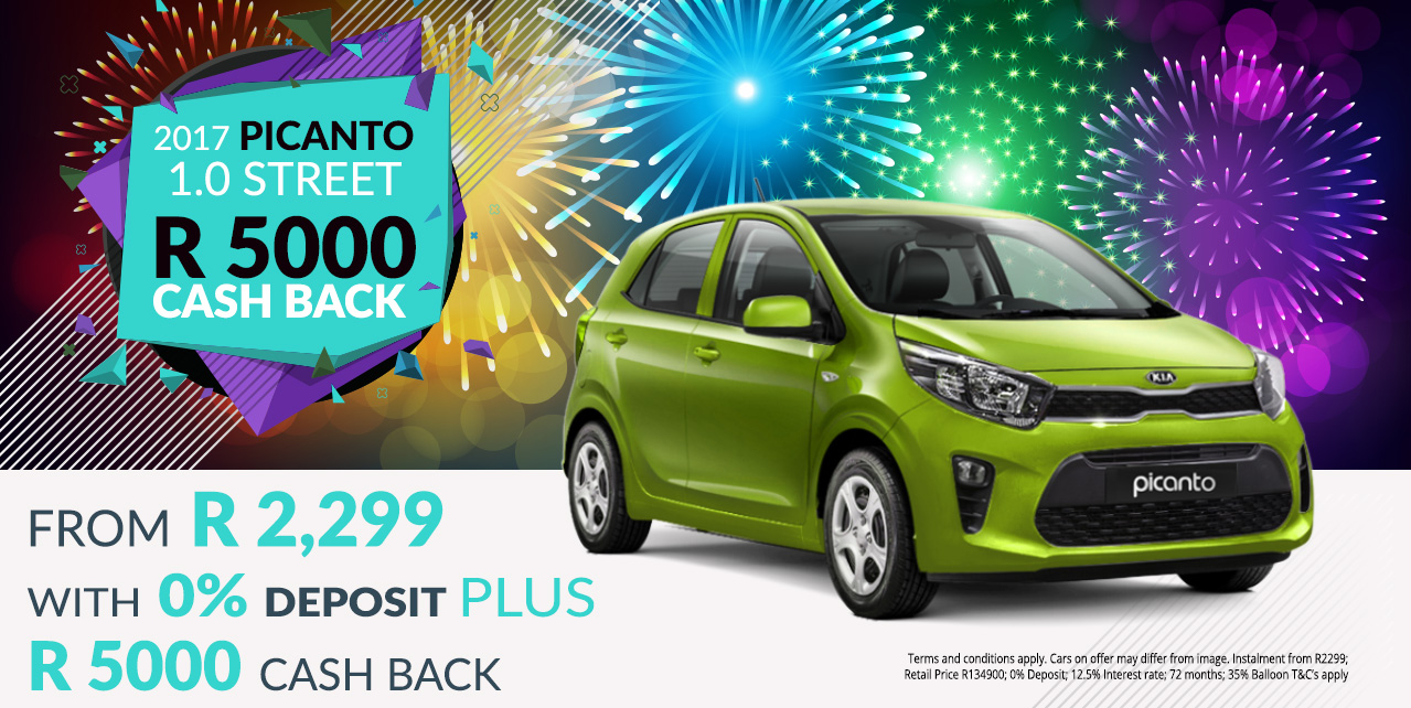 Get the 2017 Picanto 1.0 Street from R2,299 pm* and R5000 Cash Back
