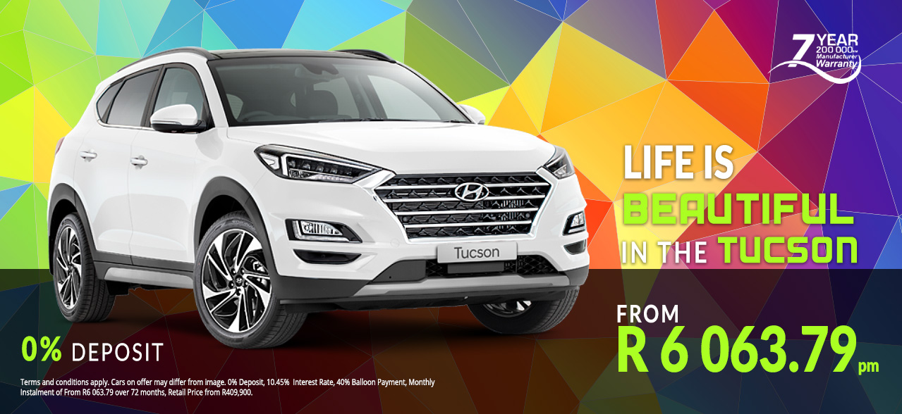 Life is beautiful with the Hyundai Tucson from R6,063.79 p/m*, 0% Deposit