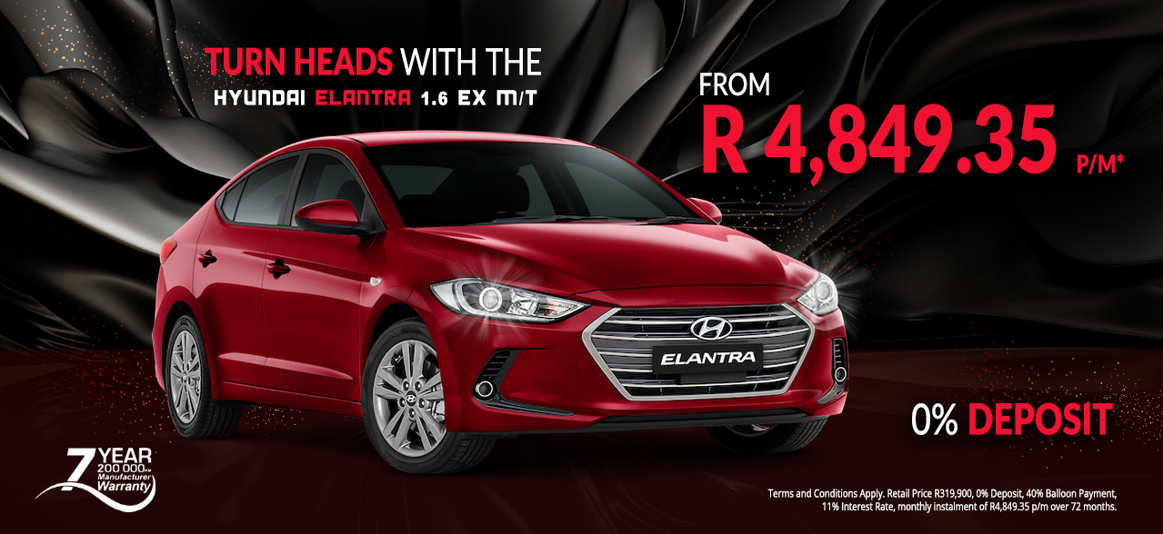 Turn Heads with the Hyundai Elantra 1.6 EX M/T From R4,849.35 p/m* 0% Deposit