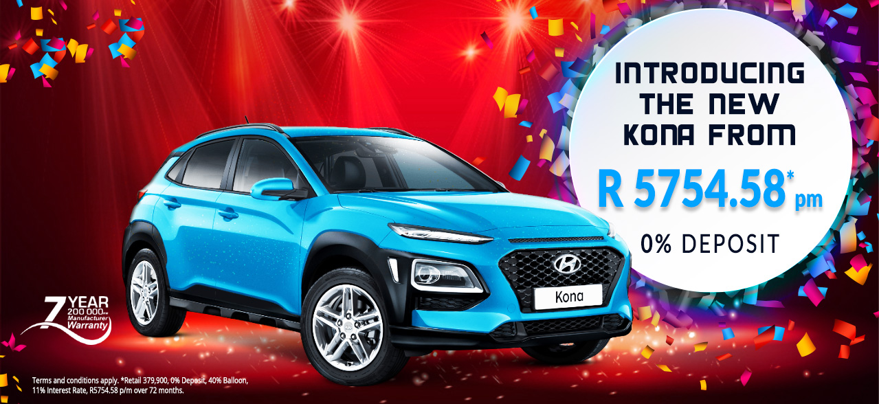 Introducing the New KONA From R 5754.58* 0% Deposit