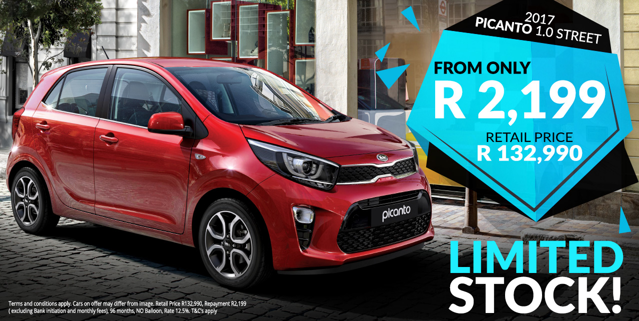 Get the 2017 Picanto 1.0 Street from R2,199 pm* - Limited stock!