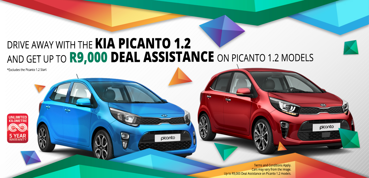 Drive away with the Picanto 1.2 and get up to R9,000 Deal Assistance