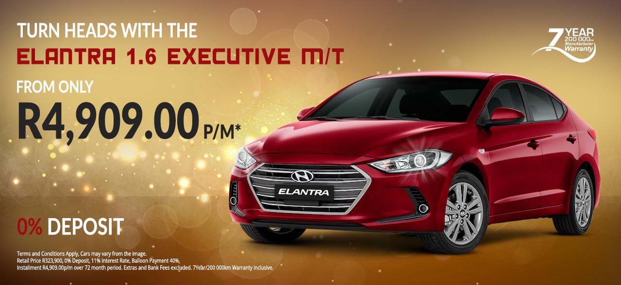 Turn Heads with the Hyundai Elantra 1.6 EX M/T From R4,909 p/m* 0% Deposit