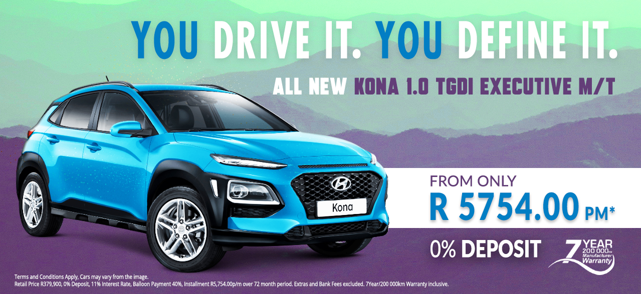 You Drive It, You Define It. All New KONA 1.0 TGDI Executive M/T from R5,754 p/m