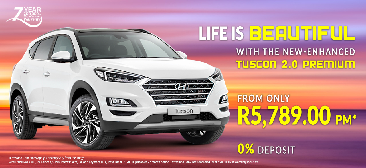Life is beautiful with the Hyundai Tucson 2.0 Premium from R5,789.00 p/m*, 0% Deposit