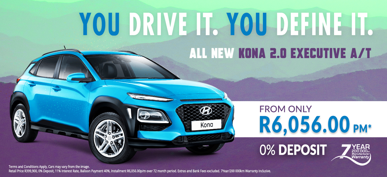 All New KONA 2.0 Executive A/T from R6,056 p/m