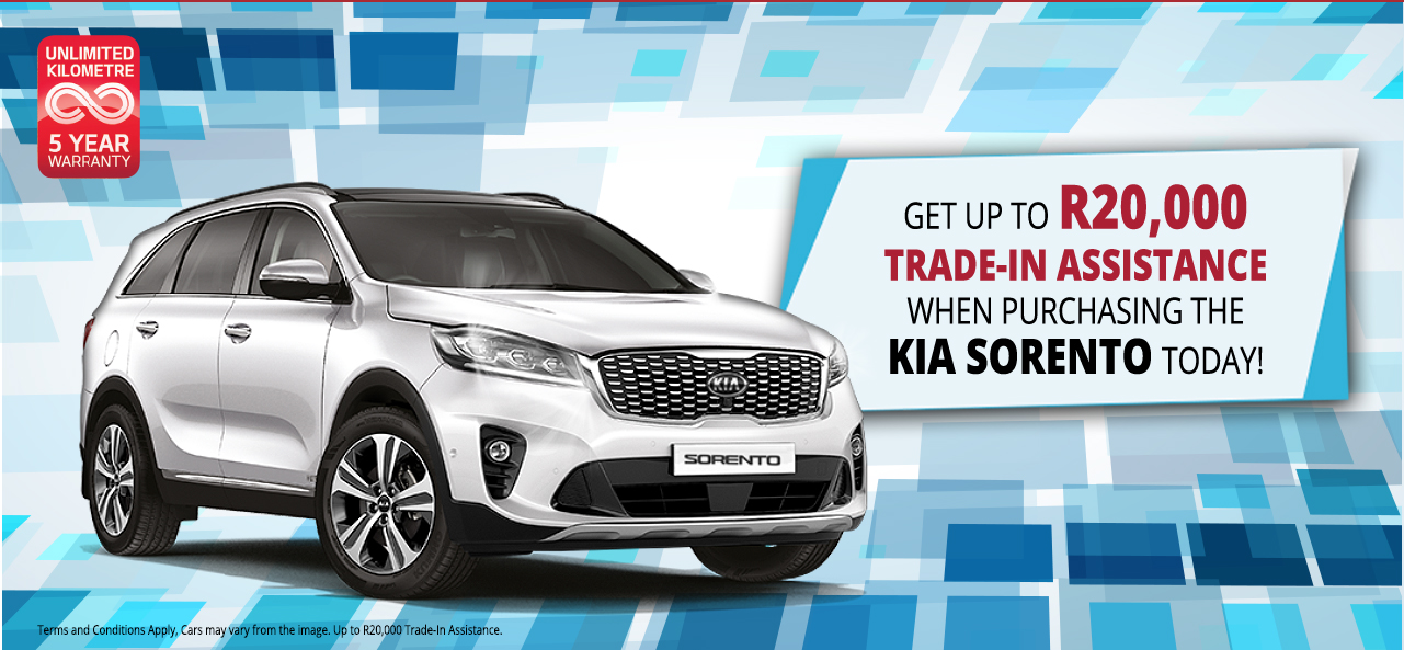 Get Up To R20,000 Trade-In Assistance when Purchasing the KIA Sorento Today!