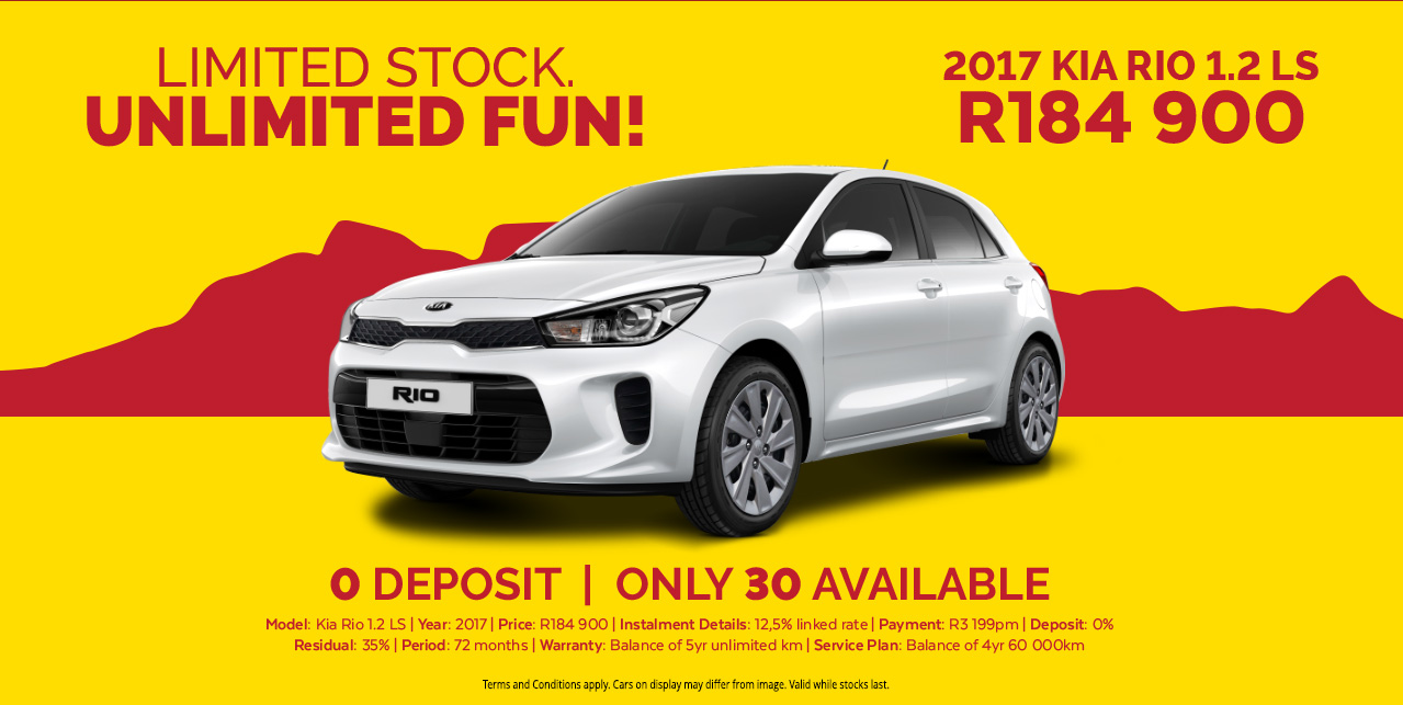 LIMITED STOCK UNLIMITED FUN!  2017 KIA RIO 1.2 LS R184,900  0% DEPOSIT | ONLY 30 AVAILABLE