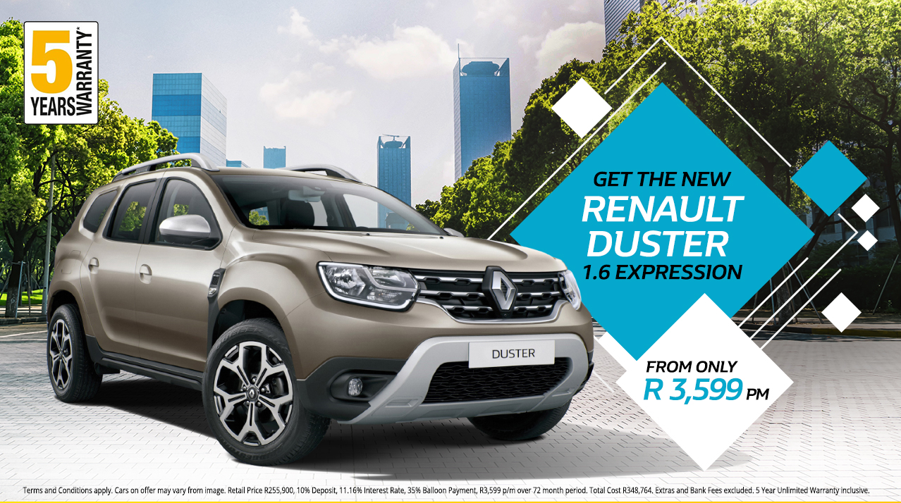 Get the New Renault Duster 1.6 Expression from only R3,599 p/m*
