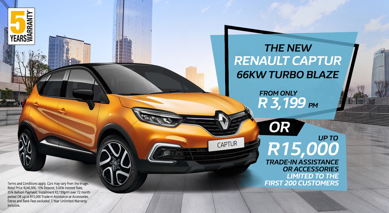 The New Renault Captur Blaze 66kw Turbo from only R3,199 p/m* OR up to R15,000 Trade in Assistance