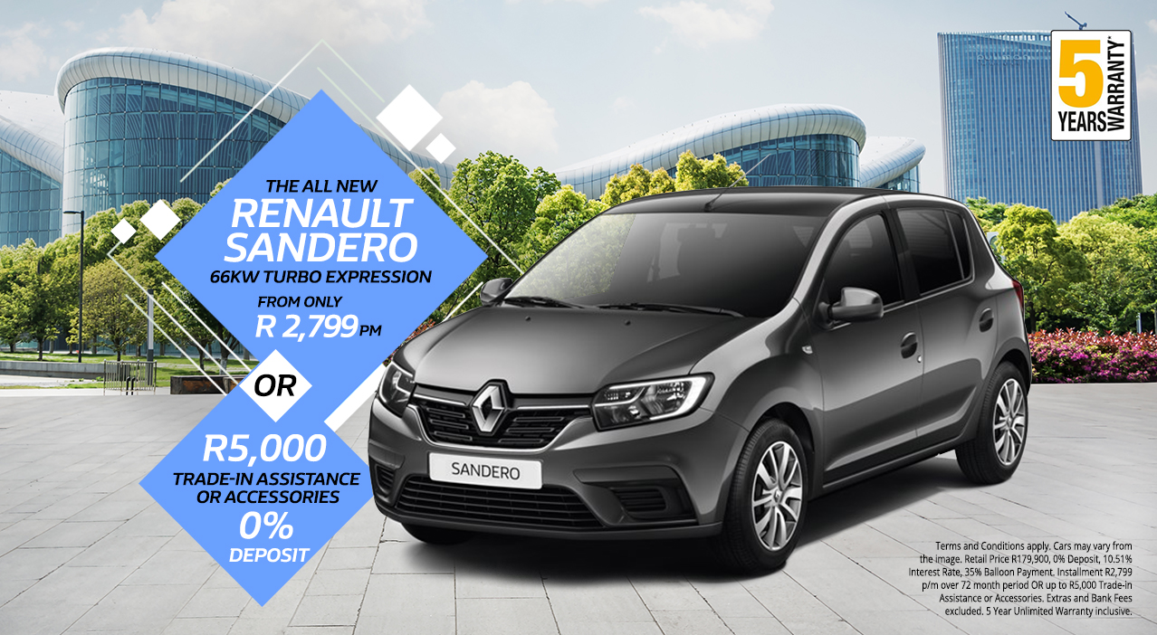 The All New Renault Sandero 66kw Turbo Expression from R2,799 p/m* or R5,000 Trade in Assistance | 0% Deposit