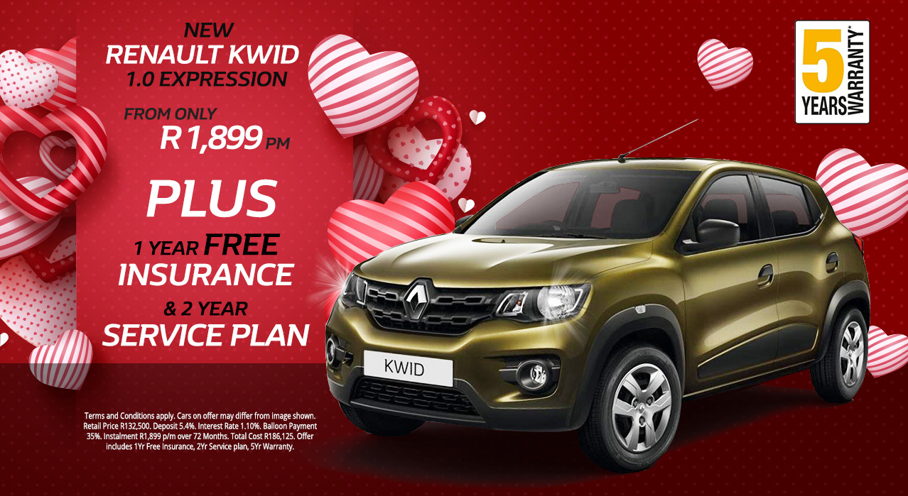 New Renault Kwid 1.0 Expression from only R1,899 p/m*