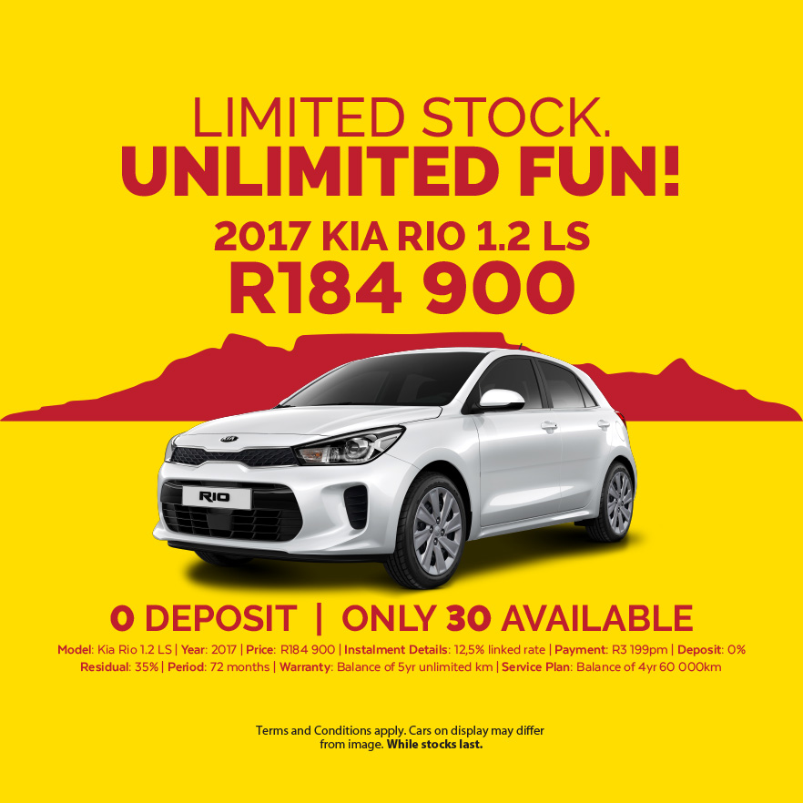 LIMITED STOCK UNLIMITED FUN!  2017 KIA RIO 1.2 LS R184,900  0% DEPOSIT   ONLY 30 AVAILABLE