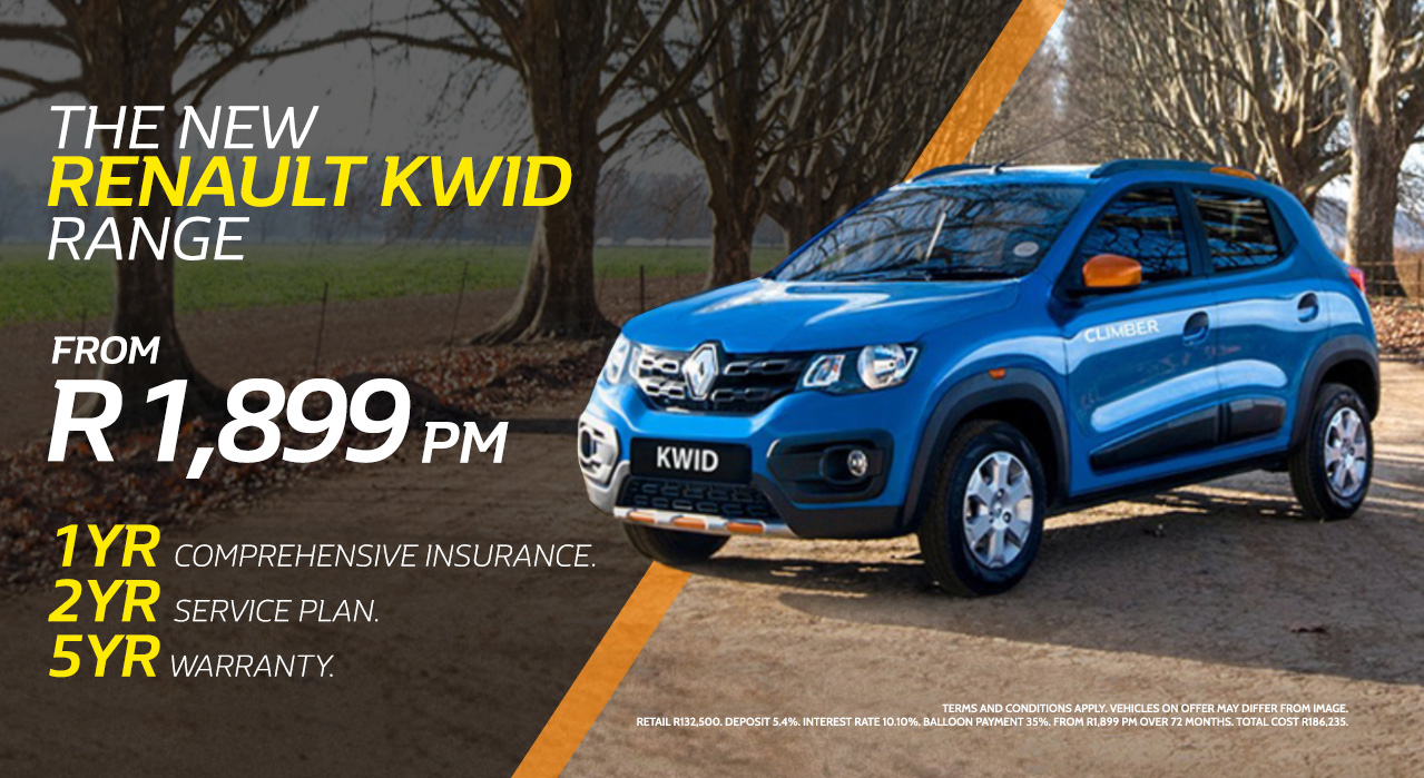 The New Renault Kwid Range from R1,899 pm*