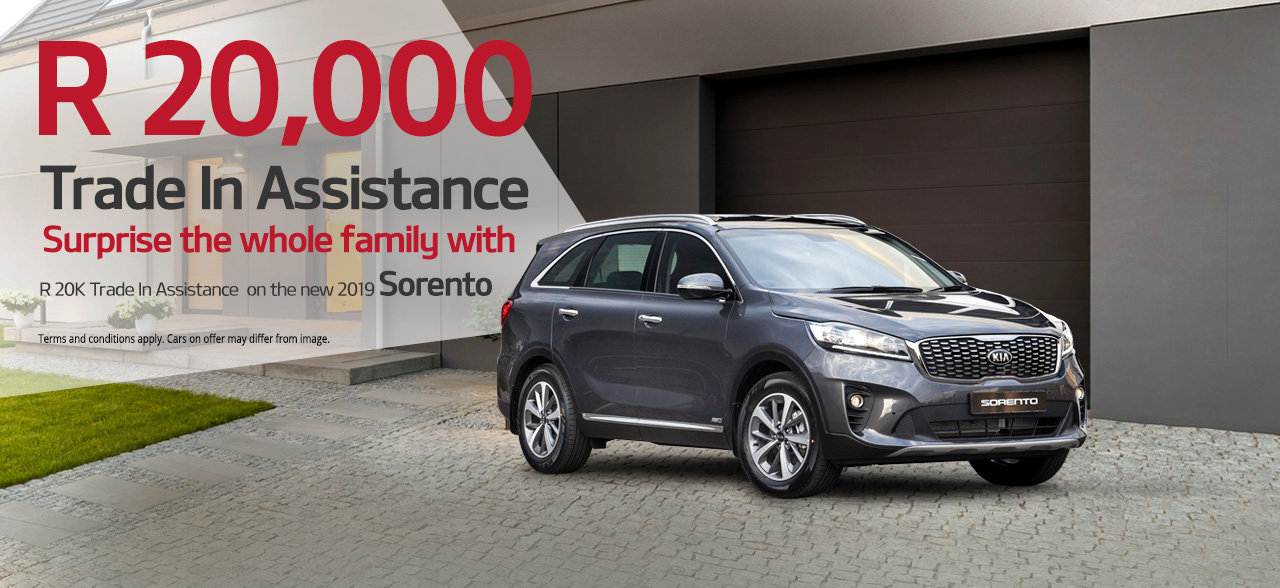 Surprise the whole family with up to R20 000 Trade in Assistance on the 2019 KIA  Sorento