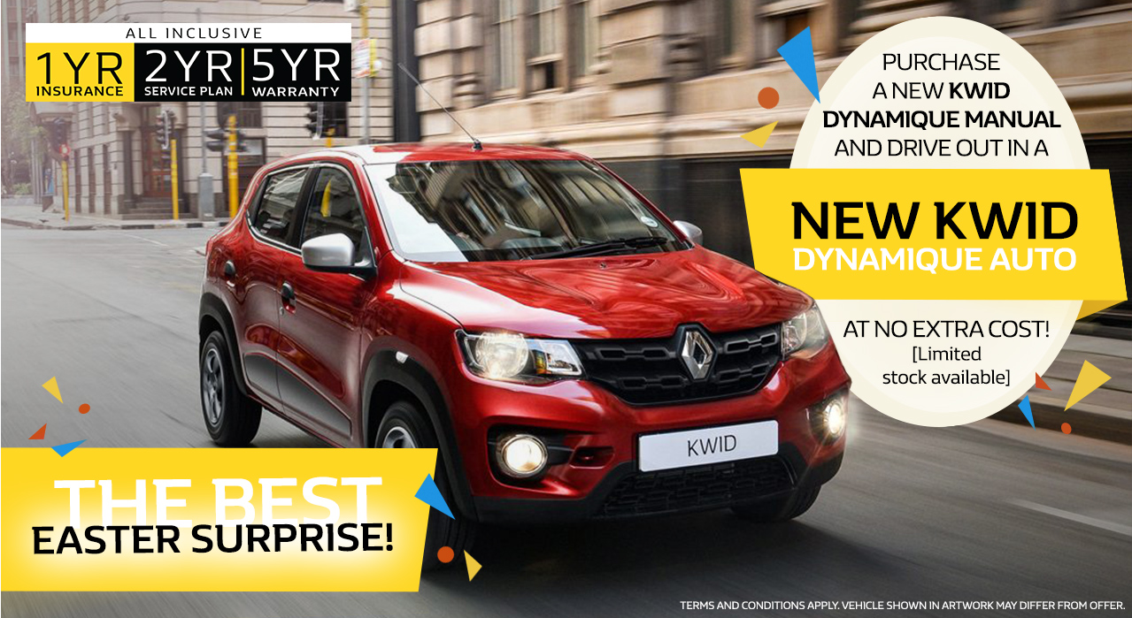 The Best Easter Surprise - Purchase a new Kwid Dynamique Manual and Drive out in a Kwid Dynamique Automatic