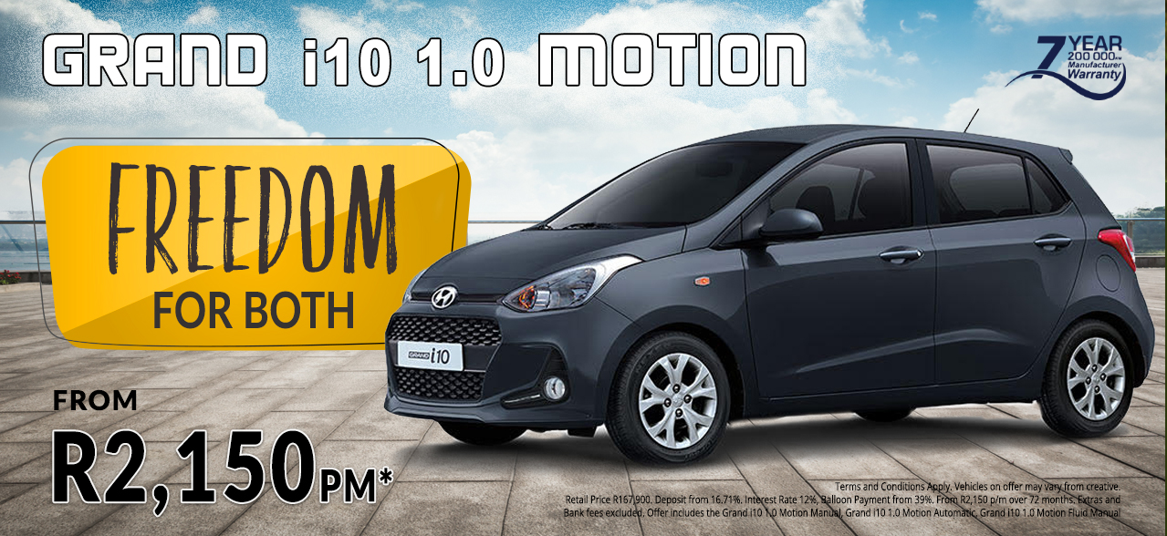 Grand i10 1.0 Motion from R2,150 pm*