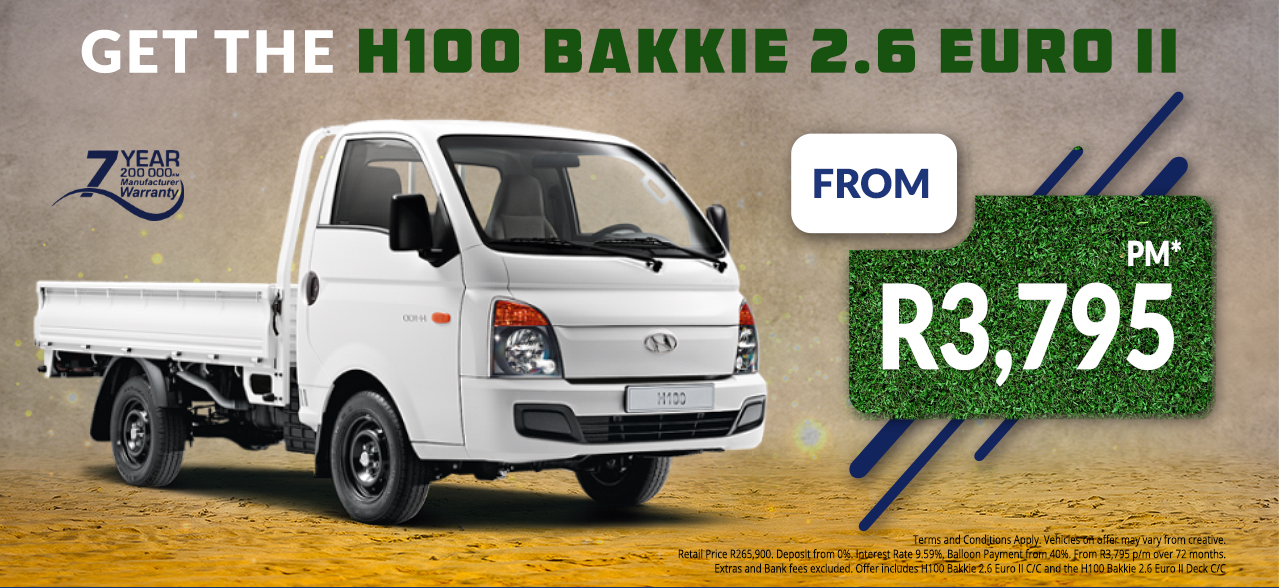 Get the H100 Bakkie 2.6 EURO II from R3,795 pm*