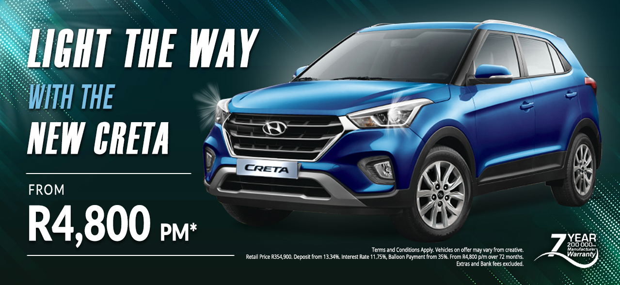 Light the Way with the Hyundai Creta from R4,900 pm*