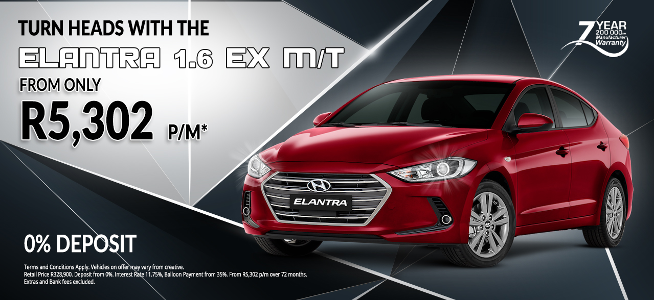 Turn heads with the Hyundai Elantra 1.6 ex m/t from R5,302 pm*