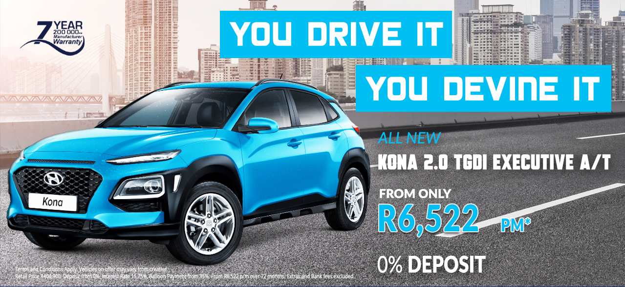 All New Kona 2.0 TGDI EX A/T from R6,522 pm*