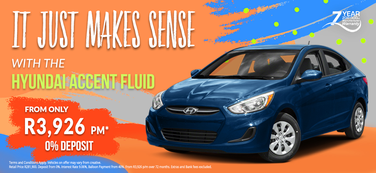 Hyundai Accent Fluid from R3,926 pm*