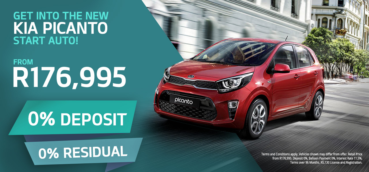 Get into the new Kia Picanto Start Auto from R176,995 | 0% Deposit | 0% Residual