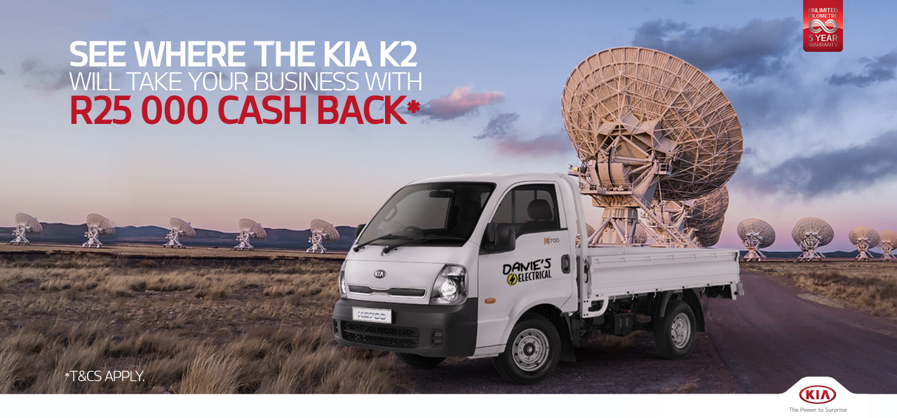Up to R25 000 Cash Back* with the KIA K2
