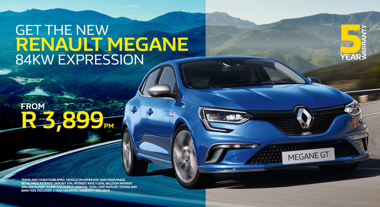 Get the New Renault Megane 84kw Expression from only R3,899 p/m*